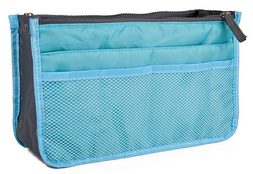 Sky Blue Purse Organizer Lightweight Nylon 13 Pockets!