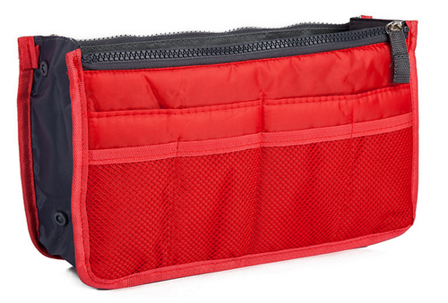 Bright Red Purse Organizer Lightweight Nylon 13 pockets!