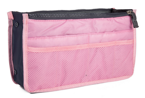 Light Pink Purse Organizer Lightweight Nylon 13 pockets!