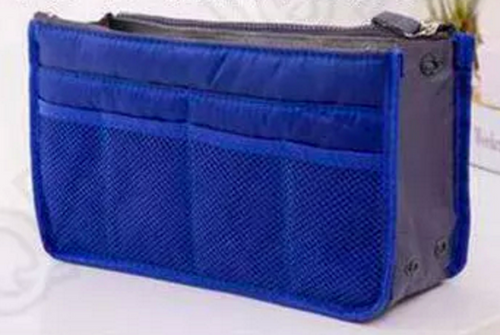 Dark Blue Purse Organizer Lightweight nylon 13 pockets