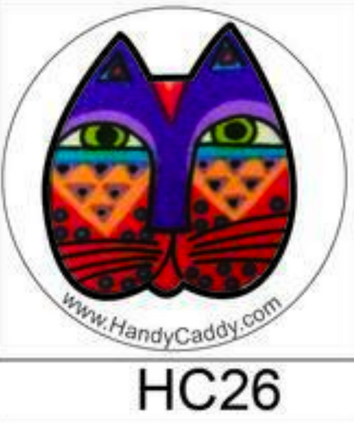 Laurel Burch Like Cat Face with Purple crown and freckles aka HP0026 These are the cutest Pop Handles EVER! aka Pop Sockets, Handy Pops come with a Car mount. 3M adhesive for both the Pop and the Car Mount makes it transferable. You can remove slowly and carefully. Then it can be replaced on another device. If it gets dirty, simply rinse it under water, let it dry and re-use.
