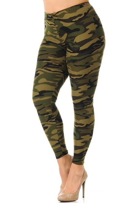 "Imported  Comfortably Fits Sizes 14 - 22 (24 depending on body type)  Olive Green Camouflage Design  Ultra Soft Milk Silk Fabric  Full Length  Elasticized Waist  92% Polyester 8% Spandex  Model is Wearing a One Size Plus   Measurements are 38DD x 36 x 44 and height is 5' 9""  Hand Wash or Professional Wash  New MIx"