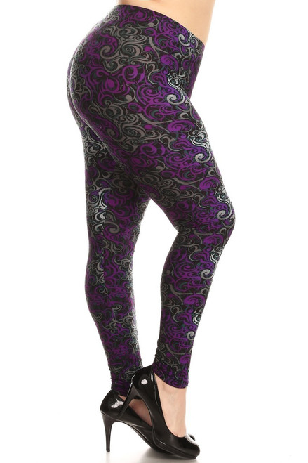 """Imported  Ideal for Sizes 14 - 22 (Size 24 Depending on Body Type)  Gorgeous Abstract Print Plus Size Leggings  Amazing Purple Design on Buttery Soft Fabric  Full Length Fitted Leggings  Soft Luxurious Microfiber Fabric  92% Polyester 8% Spandex  Model is wearing a One Size  Measurements are 32C x 24 x 35 height is 5' 7"""" (170.18 cm)  Hand Wash, Professional Cleaning"""