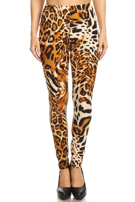 "Imported  A Gorgeous Animal Print Fabric Design  Full Length Buttery Soft Leggings  Soft Luxurious Microfiber Fabric  92% Polyester 8% Spandex  Model is wearing size One Size  Measurements are 33B x 24 x 35 and height is 5' 7"" (170.2 cm)  Hand Wash, Professional Cleaning"
