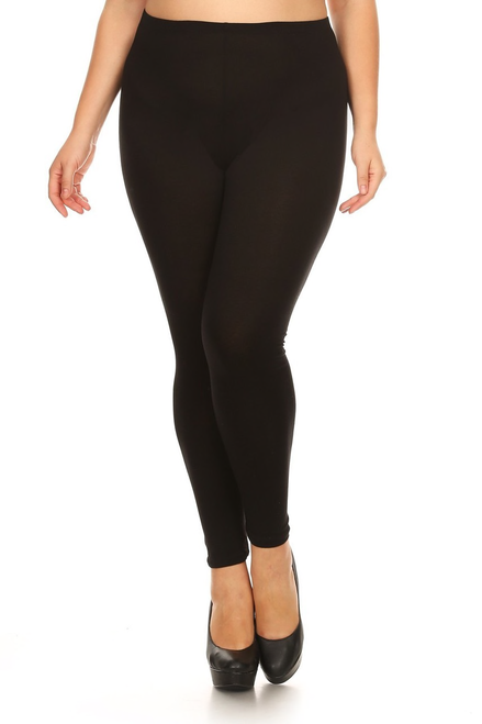 Buttery Soft Basic Solid Leggings Plus Size - 3X-5X BLACK