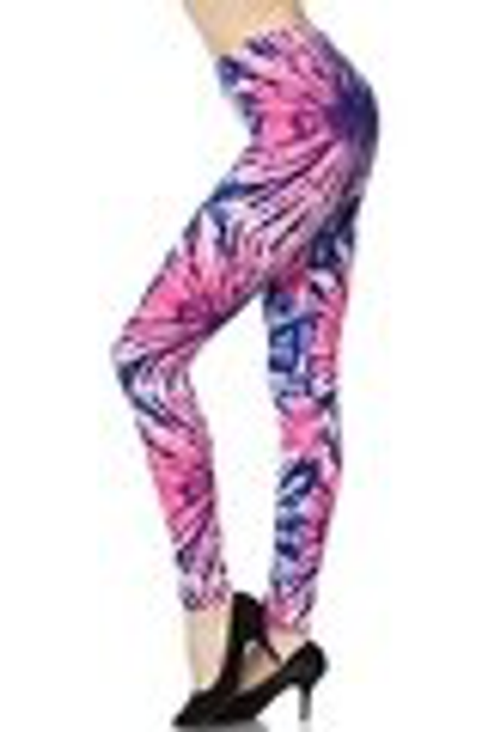 """Imported  Ideal for Sizes 0 - 10 (12 Depending on Body Type)  A Gorgeous Fuchsia and Blue Tie Dye Explosion Fabric Print  Sexy Body Hugging Fit  92% Polyester 8% Spandex  Model is wearing a One Size  Measurements are 32b x 24 x 34 height is 5' 8""""  Hand Wash, Professional Cleaning"""