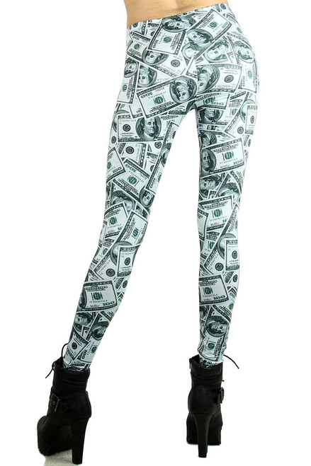 09a0d260acfc0f ... Imported Gorgeous Money Print Leggings Features a Collage of Hundred  Dollar Bills Green and White Color ...