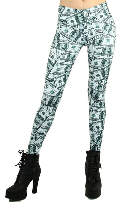 f2c459dd45d170 ... Imported Gorgeous Money Print Leggings Features a Collage of Hundred  Dollar Bills Green and White Color; Brushed Graphic ...