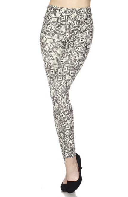 """Imported  Comfortably Fits Sizes 14 - 22 (24 depending on body type)  A Fun and On Trend Money Fabric Design  Buttery Soft Milk Silk Fabric  92% Polyester 8% Spandex  Model is wearing One Size  Measurements are 32C x 24 x 35 and height is 5' 7""""   Machine Wash (Delicate) or Hand Wash  New Mix"""