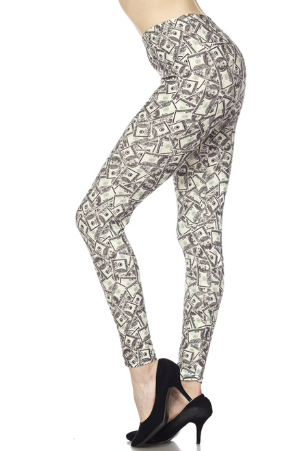 """Imported  Comfortably Fits Sizes 22 - 30  A Fun and On Trend Money Fabric Design  Buttery Soft Milk Silk Fabric  92% Polyester 8% Spandex  Model is wearing One Size  Measurements are 32C x 24 x 35 and height is 5' 7""""   Machine Wash (Delicate) or Hand Wash  New Mix"""