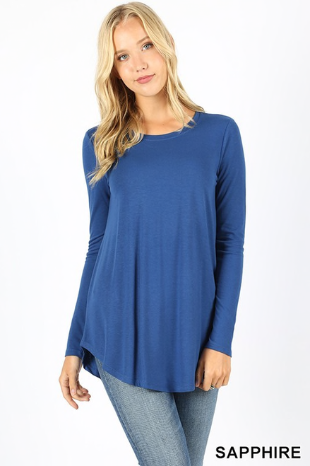 "Imported Premium Long Sleeve Rayon Top   Round Hem and Round-Neck Finish Ideal Great Fitting Premium T-Shirt 55% POLYESTER 40% RAYON 5% SPANDEX Plus Size Model is Wearing a 1X Plus Size Regular Size Model is Wearing a Small Measurements are 35C x 24 x 35 and height is 5' 8""  Hand Wash, Professional Wash or Machine Wash Delicate TOTAL BODY LENGTH: 29"" CHEST: 36"" approx Measured from Small"