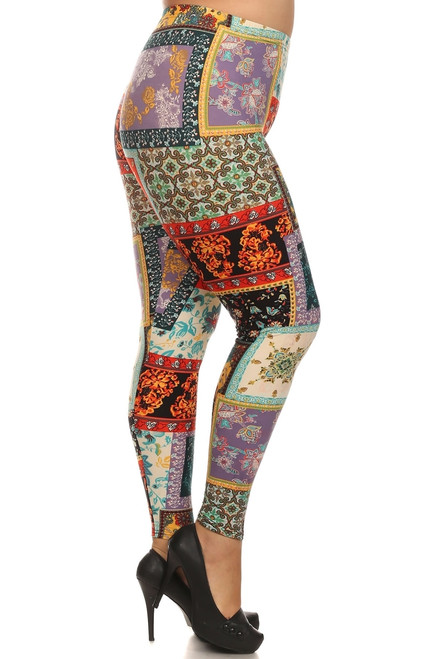 "Imported Comfortably Fits Sizes 14 - 22 (24 depending on body type) Fabulous Floral Patch Print Leggings Super Colorful Design Comfort Elastic Waist 92% Polyester 8% Spandex Model is wearing size One Size Plus Measurements are 39D x 30 x 42 and height is 5'7"" (170.2 cm) Hand Wash or Professional Wash"
