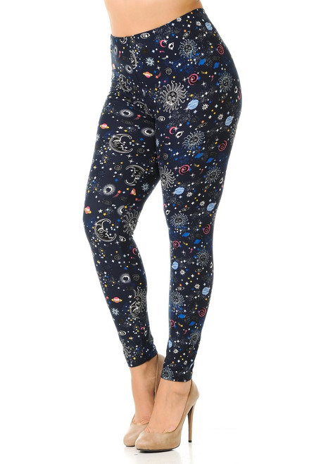 """Imported Comfortably Fits Sizes 22 - 30 A Wonderful Celestial and Astrological Fabric Print Buttery Soft Milk Silk Fabric 92% Polyester 8% Spandex Model is wearing One Size Measurements are 32C x 24 x 35 and height is 5' 7""""  Machine Wash (Delicate) or Hand Wash New Mix"""