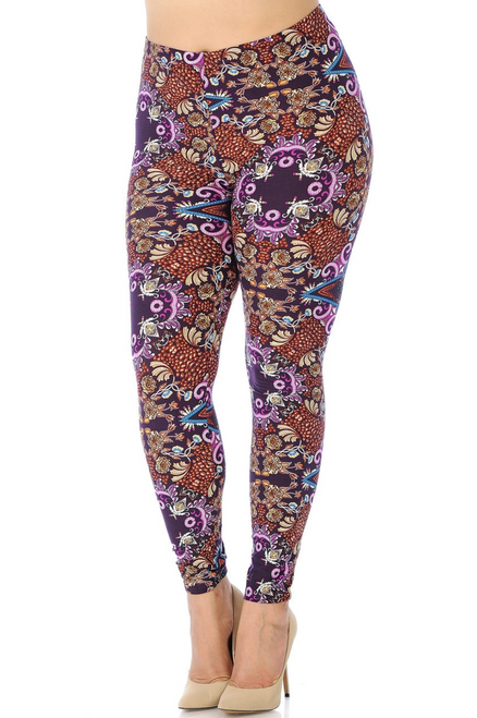 "Buttery Soft Violet Arcadia Plus Size Leggings  Imported Comfortably Fits Sizes 14 - 22 (24 depending on body type) A Wonderful and Visually Alive Abstract Fabric Print Buttery Soft Comfort Stretch Fabric 92% Polyester 8% Spandex Model is wearing One Size Plus Measurements are 38D x 36 x 46 and height is 5' 9""  Machine Wash (Delicate) or Hand Wash"