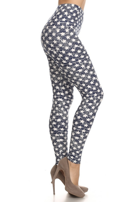"Imported Gorgeous Rustic Star Fabric Print Leggings Full Length Fitted Leggings Soft Luxurious Microfiber Fabric 92% Polyester 8% Spandex Model is wearing a One Size Measurements are 32B x 25 x 35 height is 5' 7"" (170.18 cm) Hand Wash, Professional Cleaning"