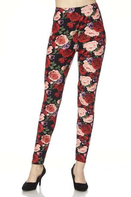 """Imported Eye Catching Rose Floral Print Leggings Comfort Elastic Waist Gorgeous Design for Day or Evening Outfits Capri Length All Day Comfort Milk Silk Fabric 92% Polyester 8% Spandex Model is wearing One Size Plus Measurements are 39D x 30 x 42 and height is 5' 7"""" Hand Wash or Professional Wash"""