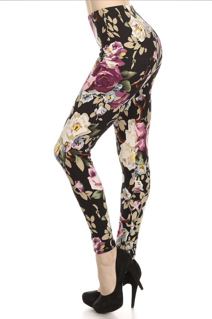 "Imported Fits Size 0 - 10 (12 depending on body type) Gorgeous Floral Print on Black Fabric Base Banded Elastic Waist All Day Comfort Milk Silk Fabric 92% Polyester 8% Spandex This model is wearing size One Size Plus Measurements are 39D x 30 x 42 and height is 5'7"" (170.2 cm) Hand Wash or Professional Wash EEVEE"
