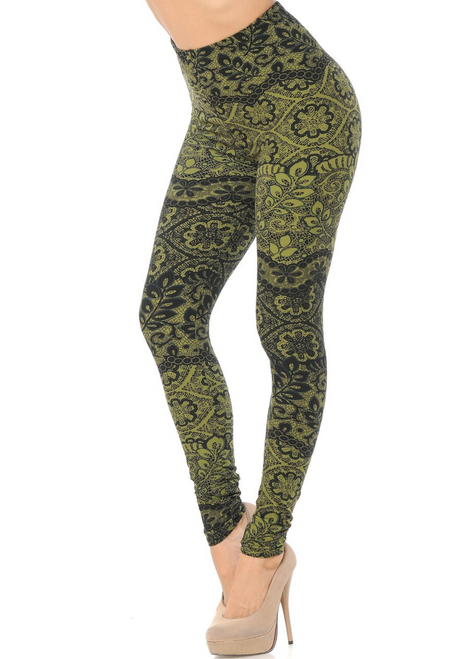 OLIVE  Detailed Leaf Brushed Leggings PLUS Size