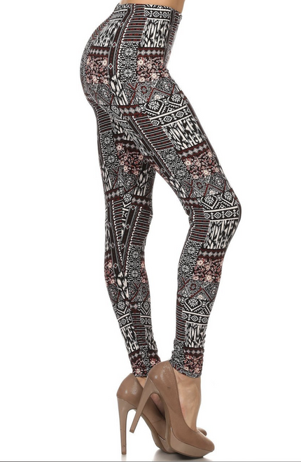 Buttery Soft Sexy Patchwork East Indian Tribal Leggings