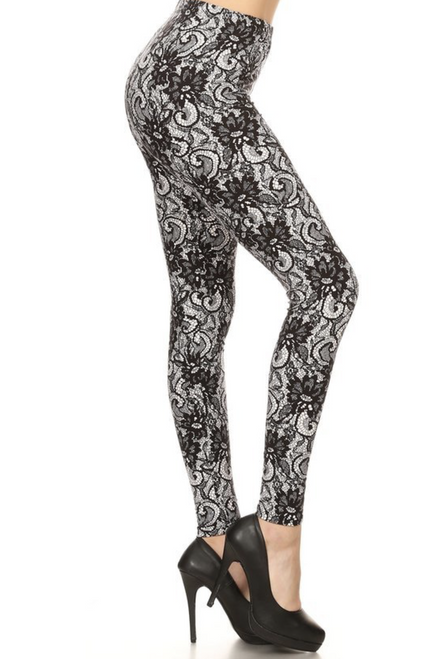 """* Imported * Fits Sizes 0 - 10(May Fit Size 12 but Depends on Body Type) * Colorful Lines Wrap Around the Entire Legging * Body Flattering Contouring Design for Amazing Outfits * Soft and Stretchy Buttery Fabric * Comfort Elastic Waist * 92% Polyester 8% Cotton * Model is wearing One Size * Measurements are34B x 24 x 35 and height is5' 8"""" * Hand Wash or Professional Wash"""