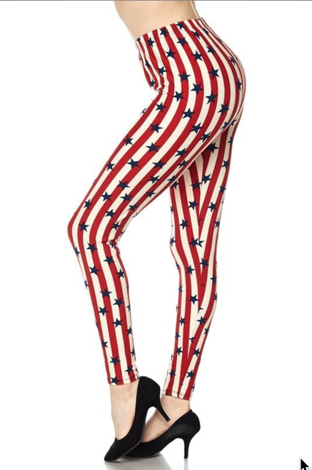 One Size fits 0 - 12  Buttery Soft Vertical Stripes with Random Stars USA Flag Leggings