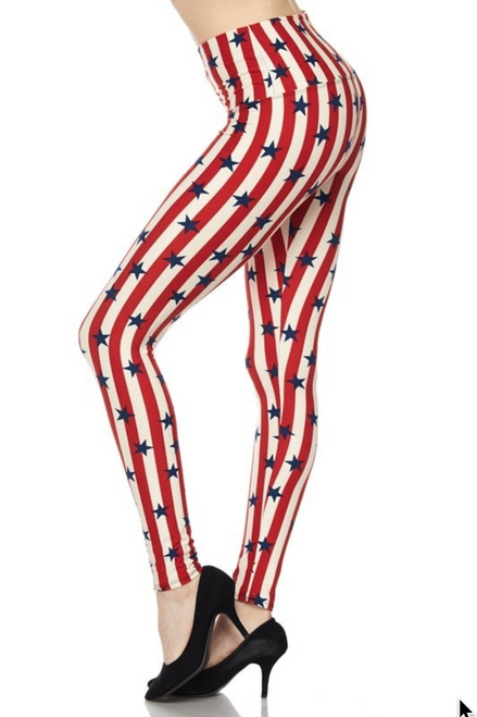 """Imported Plus Size Fits Sizes 14 - 22 (24 depending on body type) Gorgeous Vertical Stripes and Stars  Print High Waisted Design Full Length Fitted Leggings Soft Luxurious Buttery Soft Fabric 92% Polyester 8% Spandex Model is wearing a One Size Measurements are 32B x 24 x 36 height is 5' 6""""  Hand Wash, Professional Cleaning"""