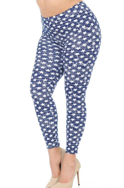 "Imported Gorgeous Rustic Star Print Leggings Full Length Fitted Leggings Soft Luxurious Microfiber Fabric 92% Polyester 8% Spandex Model is wearing One Size PLUS Measurements are 38DD x 36 x 44 height is 5' 9"" Hand Wash, Professional Cleaning"