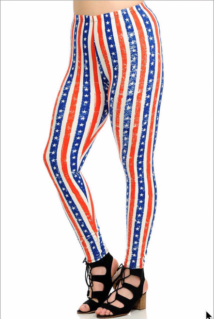 """Imported Comfortably Fits Sizes 14 - 22 (24 depending on body type) Vertical Stars and Stripes USA Flag Print Patriotic Red White and Blue Color Scheme Comfort Stretch Leggings Front and Back Print 90% Polyester 10% Spandex Model is wearing PLUS SIZE One Size Measurements are 39D x 30 x 42 and height is 5' 7"""" Machine Wash (Delicate) or Hand Wash"""