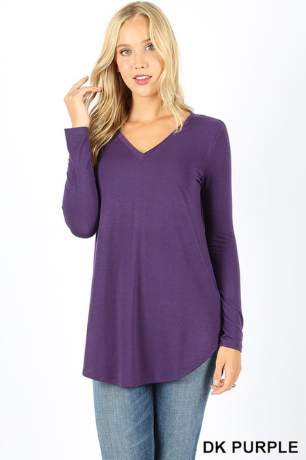 Premium V-Neck Round Hem Long Sleeve Top, LARGE, DARKPURPL