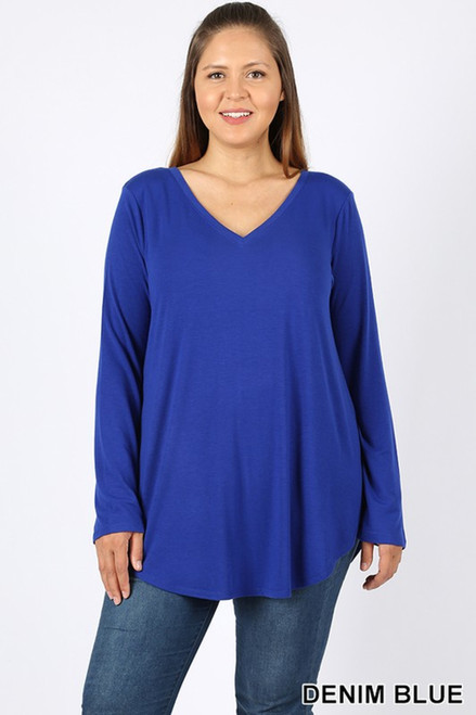 Premium V-Neck Round Hem Long Sleeve Top,  DENIMBLUE