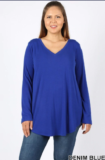 Premium V-Neck Round Hem Long Sleeve Top,PLUS SIZE,  DENIMBLUE