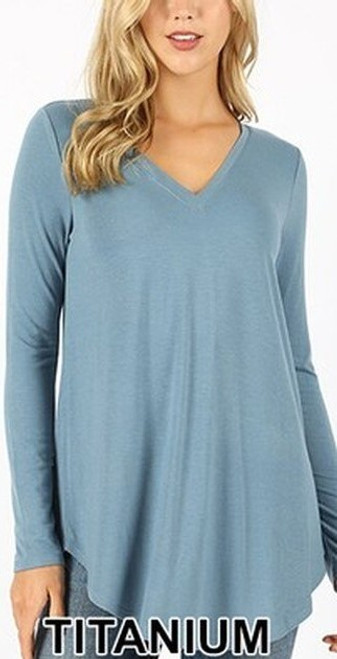 Premium V-Neck Round Hem Long Sleeve Top, Large, TITANIUM