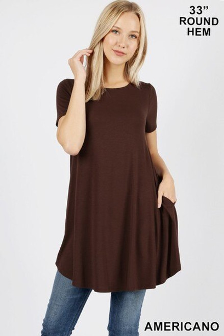 Round Neck Round Hem Short Sleeves Tunic with, Small Pockets