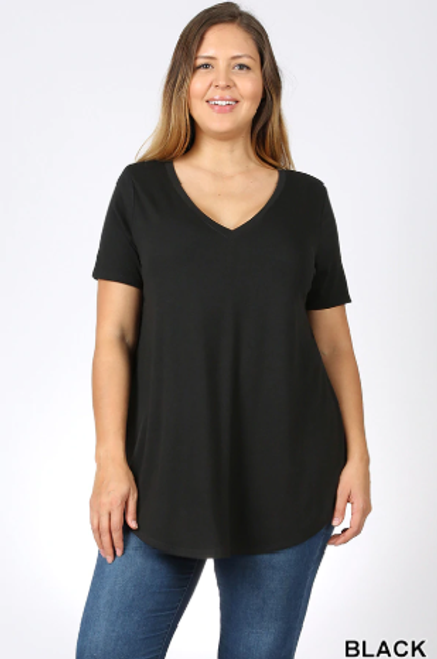 Premium Short Sleeve V-Neck Round Hem, 3XL TOP, BLACK