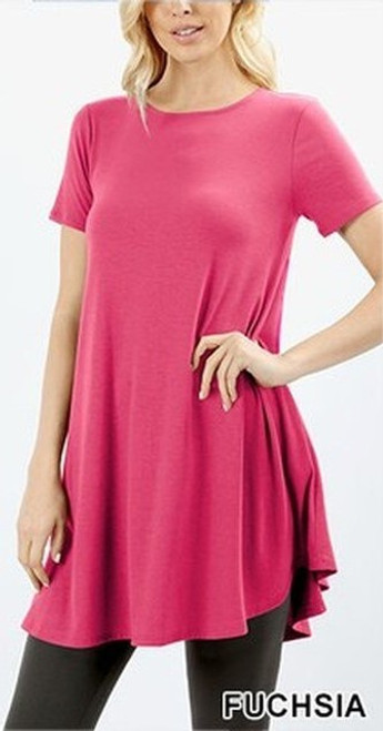 """Imported Long line Flared Top with Side Pockets Premium Plus Size Sleeveless Rayon Fabric Top  Round Neck Round Hem Top  Great Fit and a Wonderful Stand Alone Piece 55% POLYESTER 40% RAYON 5% SPANDEX Model is Wearing a Small Measurements are 33C x 24 x 25 and height is 5' 8""""  Hand Wash, Professional Wash or Machine Wash Delicate"""