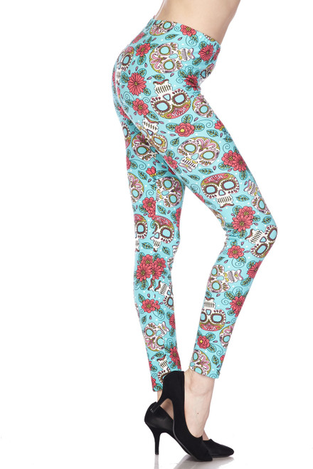 Buttery Soft Teal Summer Sugar Skull Leggings, OS REGULAR, TEAL