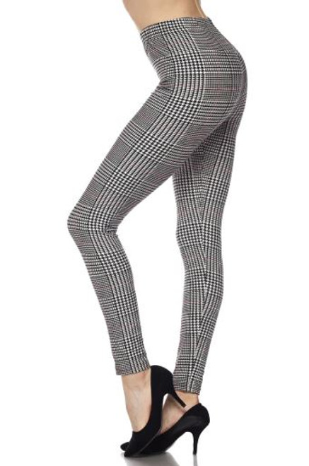 Burgundy Accent Houndstooth Plaid Plus Size Leggings