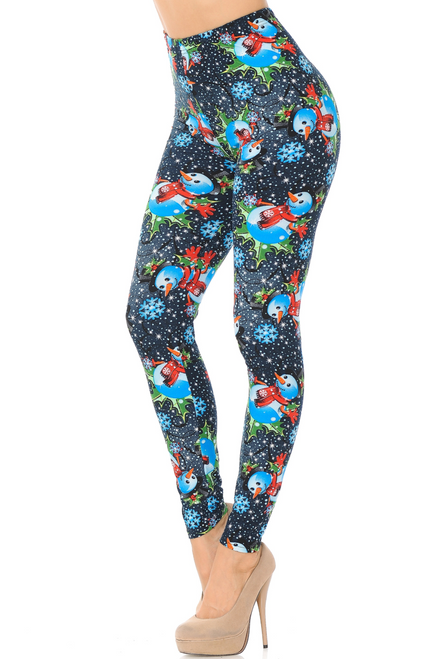 "Frosty Blue Snowman Christmas Leggings in One Size Imported Fits Sizes 0 - 10 (12 depending on body type) A Vivid Snowman Holiday Fabric Print Buttery Soft Milk Silk Fabric 92% Polyester 8% Spandex Model is wearing One Size Measurements are 32B x 24 x 36 and height is 5' 6""  Machine Wash (Delicate) or Hand Wash"