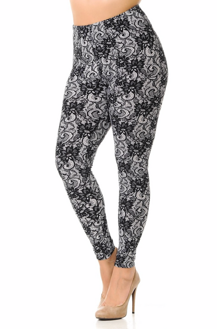 """Imported Fits Sizes 14 - 22 (May Fit Size 24 but Depends on Body Type) Colorful Lines Wrap Around the Entire Legging Body Flattering Contouring Design for Amazing Outfits Soft and Stretchy Buttery Fabric Comfort Elastic Waist 92% Polyester 8% Cotton Model is wearing One Size PLUS Measurements are 36DD x 38 x 44 and height is 5' 9"""" Hand Wash or Professional Wash"""