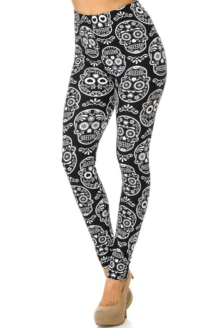 Black and White Sugar Skull Plus Size Leggings