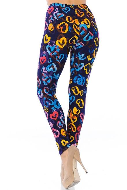 Colorful Watercolor Hearts Leggings