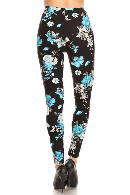 Blue Floral Rose Leggings - LIMITED EDITION