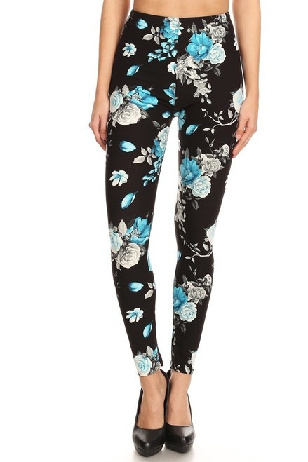 Blue Floral Rose Plus Size Leggings - LIMITED EDITION