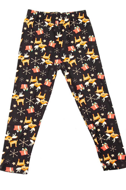 Kids size Large  Imported A Cute as Can be Baby Reindeer and Presents Fabric Design Ultra Comfy Milk Silk Fabric Body Hugging Fit 92% Polyester 8% Spandex Hand Wash, Professional Cleaning Small At Rest: Inseam: 16 Inches Waist Radius: 9 Inches Waist Circumference: 18 Inches Hips: 12 Inches  Medium At Rest: Inseam: 20 Inches Waist Radius: 9.75 Inches Waist Circumference: 19.5 Inches Hips: 13 Inches  Large At Rest: Inseam: 23 Inches Waist Radius: 10.5 Inches Waist Circumference: 21 Inches Hips: 14 Inches
