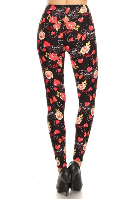 Soft Valentine's Day Leggings - Plus Size model is wearing a one size