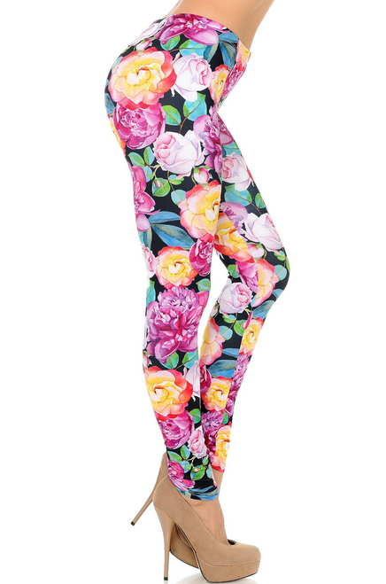 Beautiful  Chromatic Floral Rose Leggings. Limited Supplies