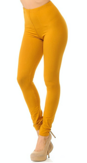 MUSTARD Buttery Soft  Basic Solid Leggings  PLUS SIZE