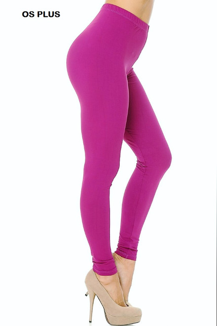 MAGENTA  Buttery Soft Solid Leggings PLUS SIZE
