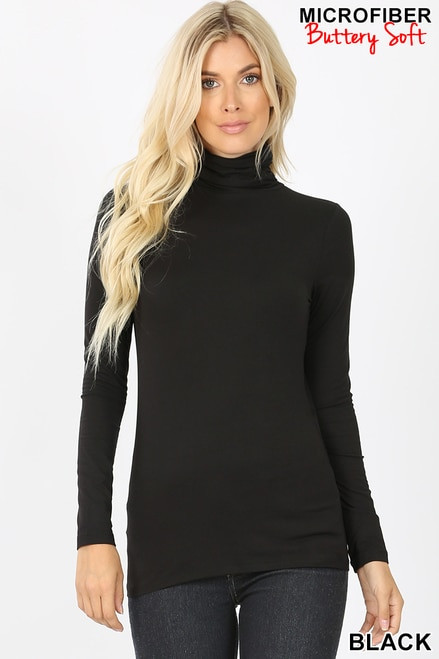 Brushed Microfiber Mock Neck Top Black Large