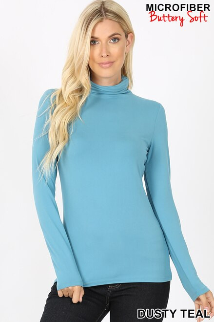 Brushed Microfiber Mock Neck Top Dusty Teal Large